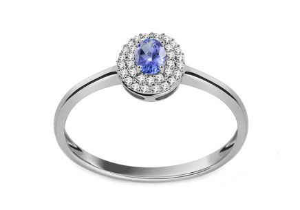 White Gold Engagement Ring with Tanzanite and Diamonds 0.100 ct Laurissa 2