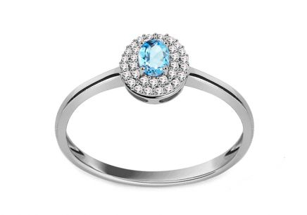 White Gold Engagement Ring with Topaz and Diamonds 0.100 ct Laurissa