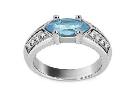 White Gold Ring with Topaz and Diamonds 0.160 ct Manie