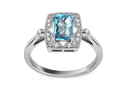 White Gold Ring with Topaz and Diamonds Teresa