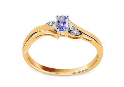 Gold Engagement Ring with Tanzanite and Diamonds 0.010 ct