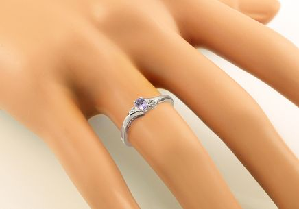 White Gold Engagement Ring with Tanzanite and Diamonds 0.010 ct