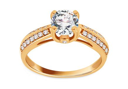 Fascinating Gold Engagement Ring with Zircons
