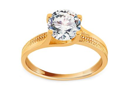 Gold Engagement Ring with Zircon Abigail