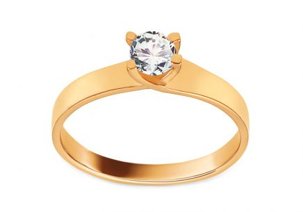 Gold Engagement Ring with Zircon Alanza