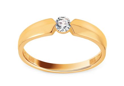 Gold Engagement Ring with Zircon Aletha 2