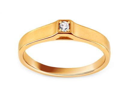 Gold Engagement Ring with Zircon Amabel