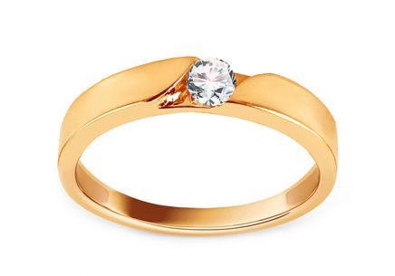 Gold Engagement Ring with Zircon Arcene