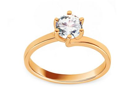 "Gold Engagement Ring with Zircon ""Charleen"""