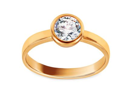 Gold Engagement Ring with Zircon Dirce