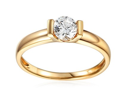 Gold Engagement Ring with Zircon Harlow