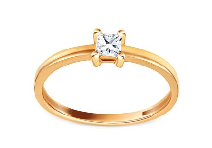 Gold Engagement Ring with Zircon Izalene