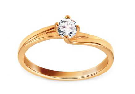 Gold Engagement Ring with Zircon Jamila