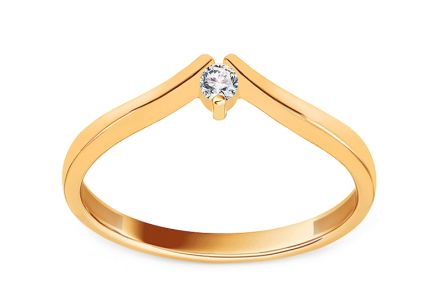 Gold Engagement Ring with Zircon Jisa