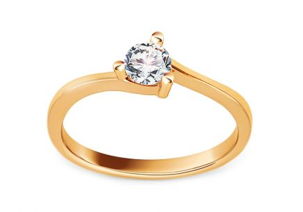 Gold Engagement Ring with Zircon Josune