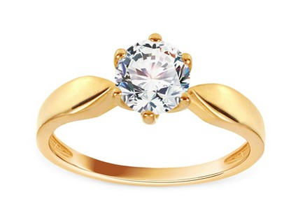 Gold Engagement Ring with Zircon Katriane