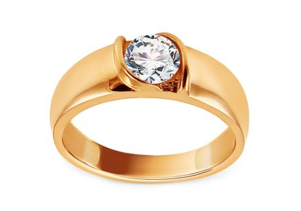 Gold Engagement Ring with Zircon Kay