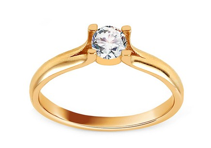 Gold Engagement Ring with Zircon Kirilla