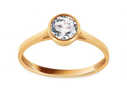Gold Engagement Ring with Zircon Leilia