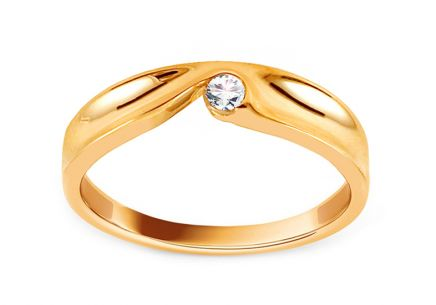 Gold Engagement Ring with Zircon Ligia