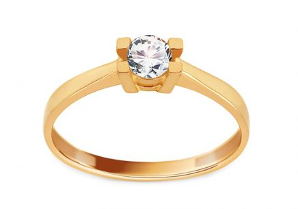 Gold Engagement Ring with Zircon Lorretta
