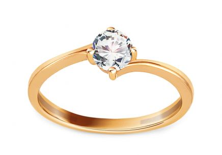 Gold Engagement Ring with Zircon Pelgia