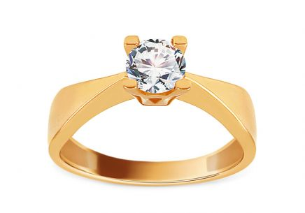 Gold Engagement Ring with Zircon Surya