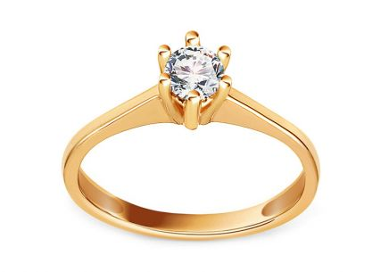 Gold Engagement Ring with Zircon Vania