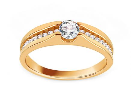 "Gold Engagement Ring with Zircons ""Abelina"""