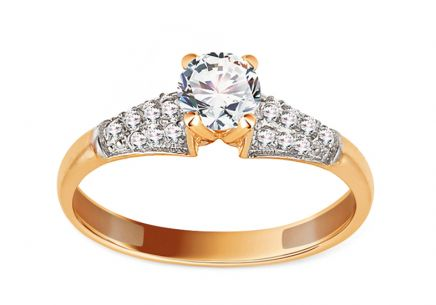 Gold Engagement Ring with Zircons Acadia
