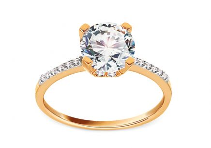Gold Engagement Ring with Zircons Adenia
