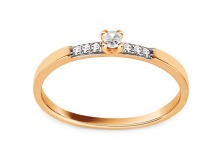 Gold Engagement Ring with Zircons Amely