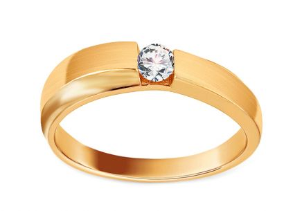 Gold Engagement Ring with Zircons and Matte Finish Eliete