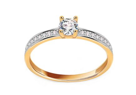 Gold Engagement Ring with Zircons Catalina