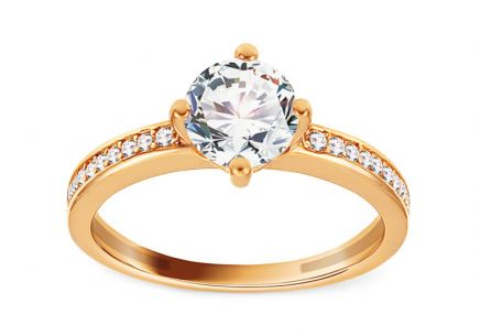 Gold Engagement Ring with Zircons Cyrea