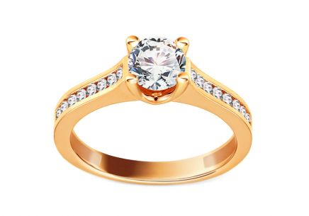 Gold Engagement Ring with Zircons Dani