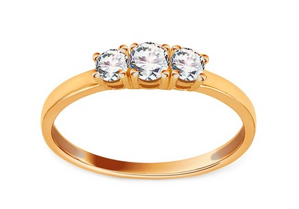 Gold Engagement Ring with Zircons Karenza