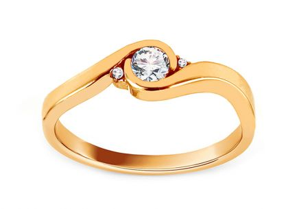 Gold Engagement Ring with Zircons Katia