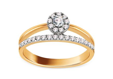 Gold Engagement Ring with Zircons Katryny