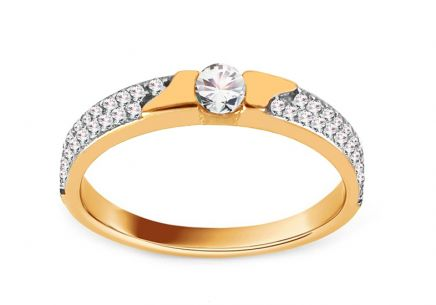 Gold Engagement Ring with Zircons Marielle
