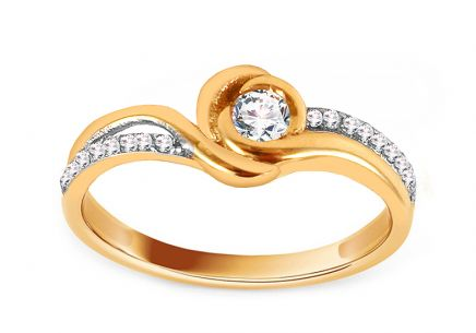 Gold Engagement Ring with Zircons Mirla