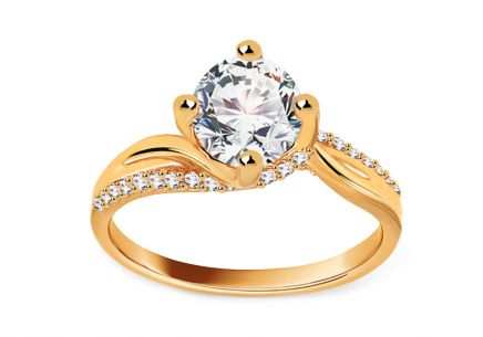 Gold Engagement Ring with Zircons Nediva