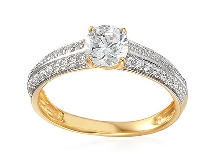Gold Engagement Ring with Zircons Norra