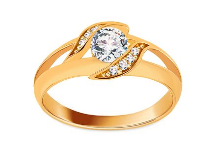 Gold Engagement Ring with Zircons Pallida