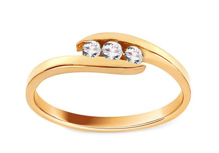 "Gold Engagement Ring with Zircons ""Pretty 7"""