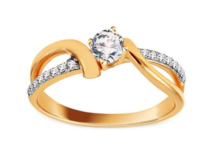 Gold Engagement Ring with Zircons Rasine