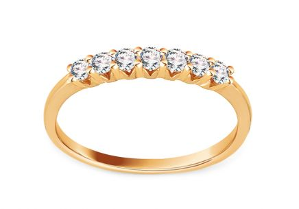 Gold Engagement Ring with Zircons Rekha