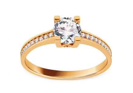 Gold Engagement Ring with Zircons Sellia