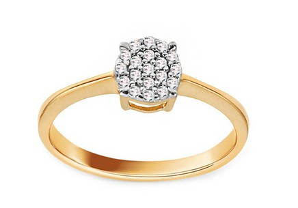 Gold Engagement Ring with Zircons Tess