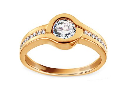 Gold Engagement Ring with Zircons Thamires